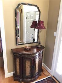 Half round hallway cabinet with matching mirror