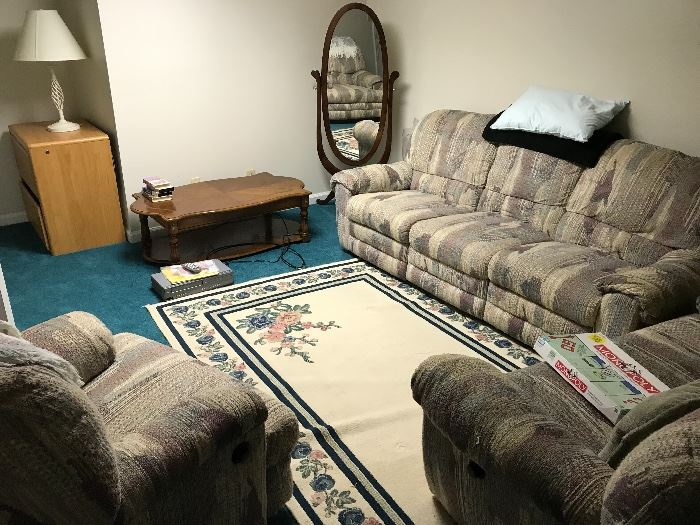Recliner sofa, loveseat and chair