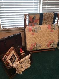 Quilt rack and mini trunk