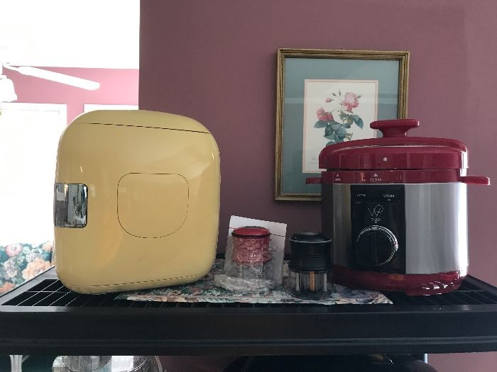 Mini bedroom/travel fridge, meat tenderizers and cooker