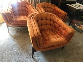 Set of three amazing mid century modern chairs by Castro Convertibles! They are fun, amazing and to top it of amazingly comfortable!