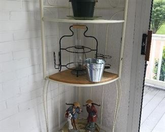 Three-tier metal shelf.