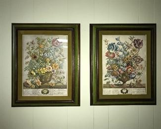 Pair framed botanical prints.