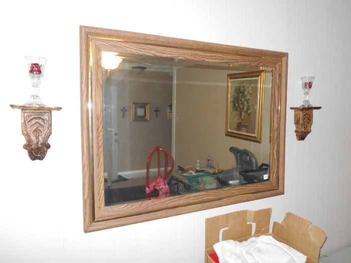 Sconce pair and wall mirror