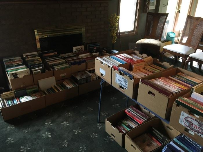 Almost 20 boxes of a library of subjects of interesting reads.