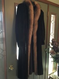 Full length male mink mahogany fur trimmed with fox.