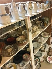 Coffee pots and dish wares galore that will be a conversation piece for any social event.