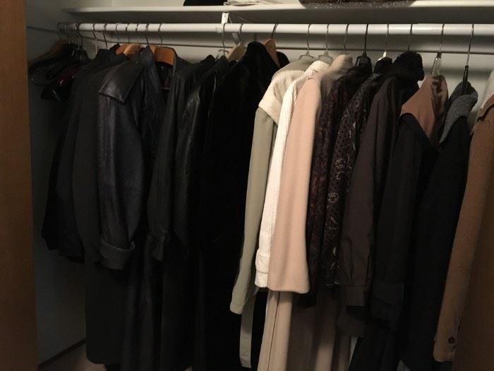 His and Her closet full of evening and everyday wear coats and jacket. Of wool, leather, ostrich and nylon.