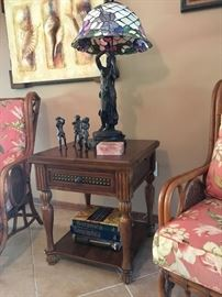 Flip-top Game Table, Tiffany-Style Figural Lamp, Monkey Musicians
