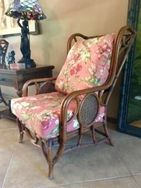 Bamboo Wing Chair, one of pair