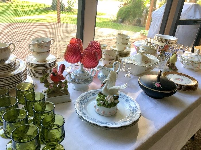 Small sampling of china and glassware collections
