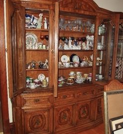 China cabinet with Lladro and B&G figurines, large porcelain teacup collection including Aynsley, Lindner, Paragon, Tirschenrueth, Noritake, LeMieux