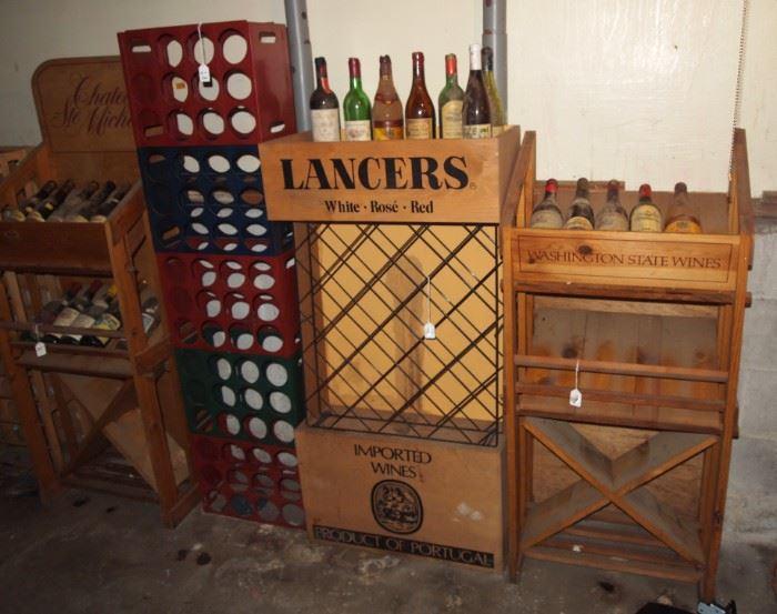 Vintage wood retail wine racks