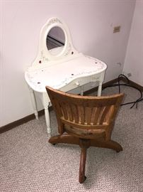 WOODEN CHAIR AND WHITE KIDS VANITY