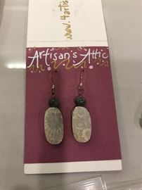 ARTISANS ATTIC-STERLING SILVER EARRINGS WITH NATURAL STONES