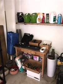 WOODEN TOOL TABLE AND TOOLS