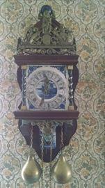 VINTAGE  DUTCH / PORCELAIN WALL CLOCK
