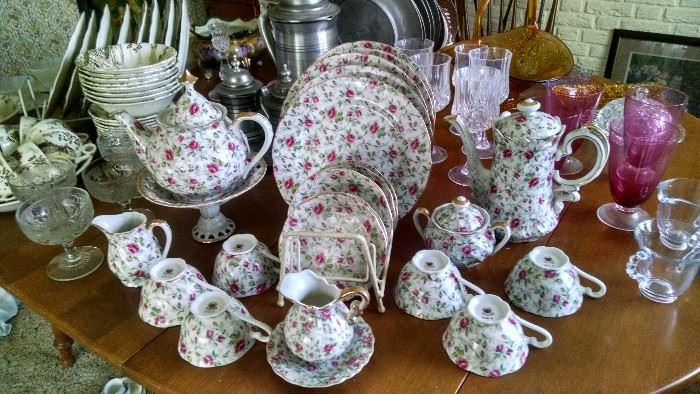 LEFTON ****ROSE CHINTZ** CHINA TEA SET