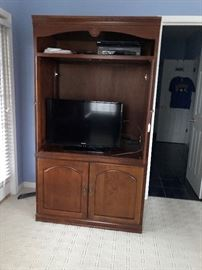 TV cabinet can stand alone (has doors that close) or add the other pieces (4 more pieces).