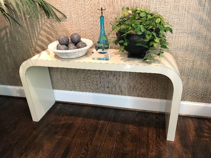 Vintage Karl Springer Style White Laminate Modernist Waterfall Console Table