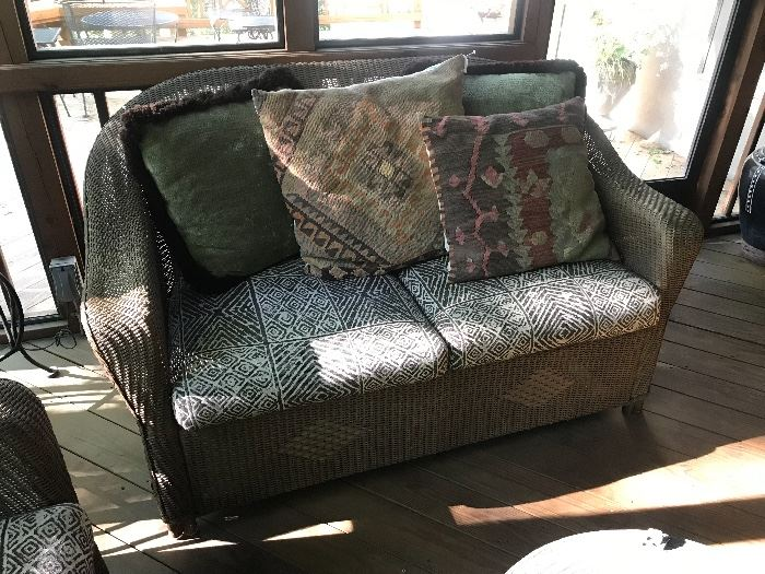 Lloyd Loom by Lloyd Flanders wicker sofa.