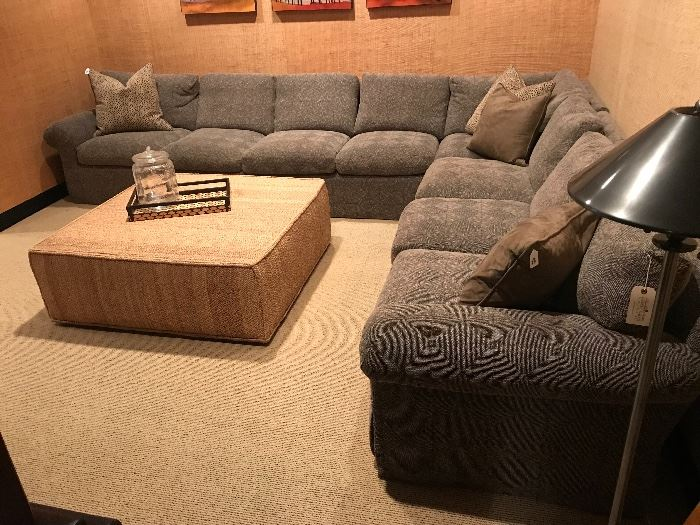 Large R. Jones sectional sofa and Henredon sisal ottoman.
