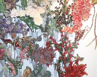 LARGE WALL PEG BOARD WITH CONES FOR FLORAL STORAGE - GREAT FLORAL DESIGNER PIECE.
