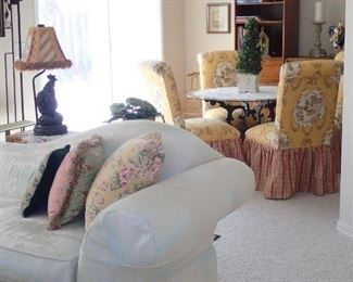 FAINTING COUCHES / TABLE AND CHAIRS IN FUN FABRICS