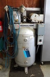 Ingsersoll-Rand T30 Electric Air Compressor Model #242-5N With Pneumatic Hoses And Air Chucks