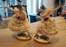 "Dresden Style Fine Porcelain And Lace Victorian Dancers, 10"" Tall, Qty 2, Each Marked With Blue Crown"