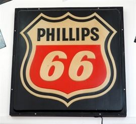 "Vintage Lighted Phillips 66 Sign, Approx Size 44"" x 48"", Mounted To Wall"