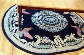 "Country Heritage Wool Hand Hooked Oval Rug, ""Rooster"" Pattern, 7'6"" x 9'6"""