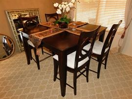 Tall Dining table with 6 chairs (2 not shown) and extra leaf
