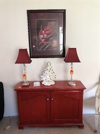 Lucite lamps..white ceramic Christmas tree & nice side cabinet