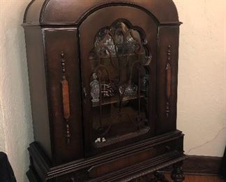 ANTIQUE JACOBEAN STYLE CHINA CLOSET
