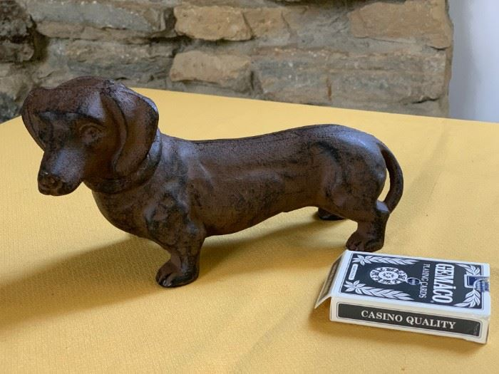 Cast iron dachshund door stop