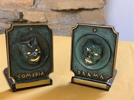 Cast iron drama/comedia bookends
