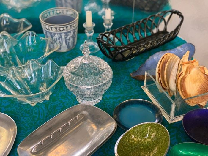 Eclectic dishes and ashtrays