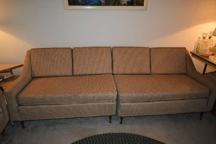 2 PC. VINTAGE SOFA W/ REVERSIBLE CUSHIONS (SOFT CUSHIONS-COVERED WITH PLASTIC)