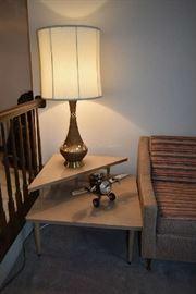 VINTAGE CORNER 2-TIER TABLE, VINTAGE LAMP, VINTAGE PLANE CLOCK