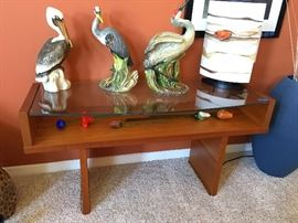 Three Florida birds,exquisitely rendered by Townsend, on top of Danish Modern display piece, buffet, side table.