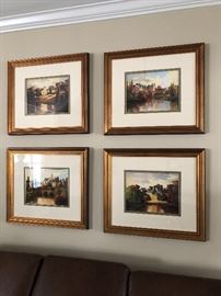 Set of four signed framed prints $250
