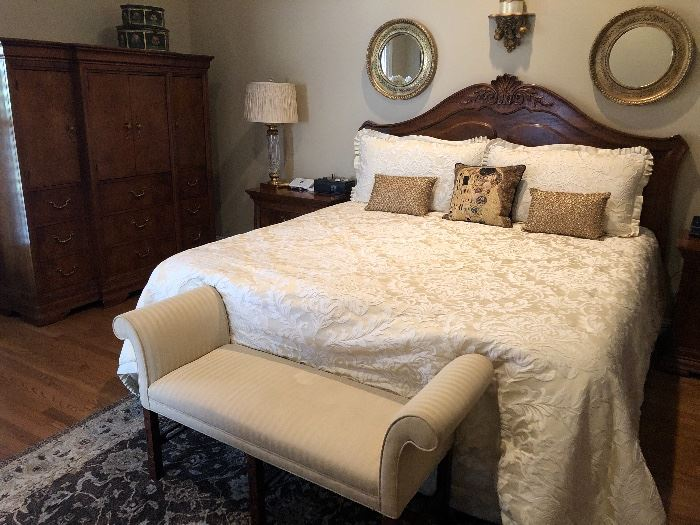 Thomasville  King headboard and practically new Tempur-pedic mattress  which matches the gentleman's chest and ladies dresser with bifold mirror and jewelry box… $1100