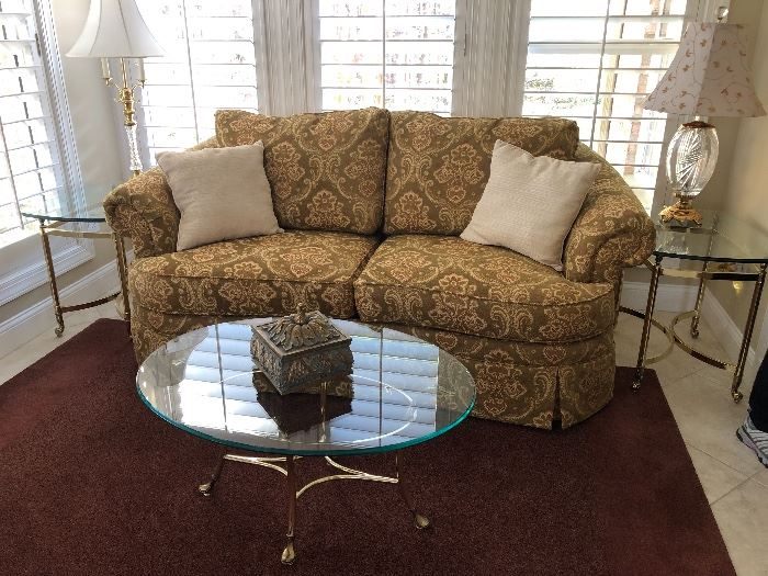 Coffee table with brass base and glass top $110 each matching side table $60