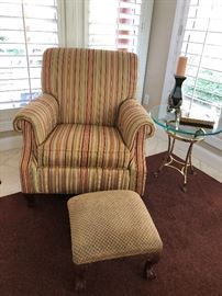 Ethan Allen a poster chair and footstool $260 glass top side table $60