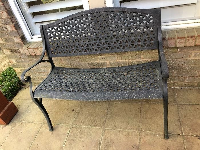 Metal outdoor bench $60