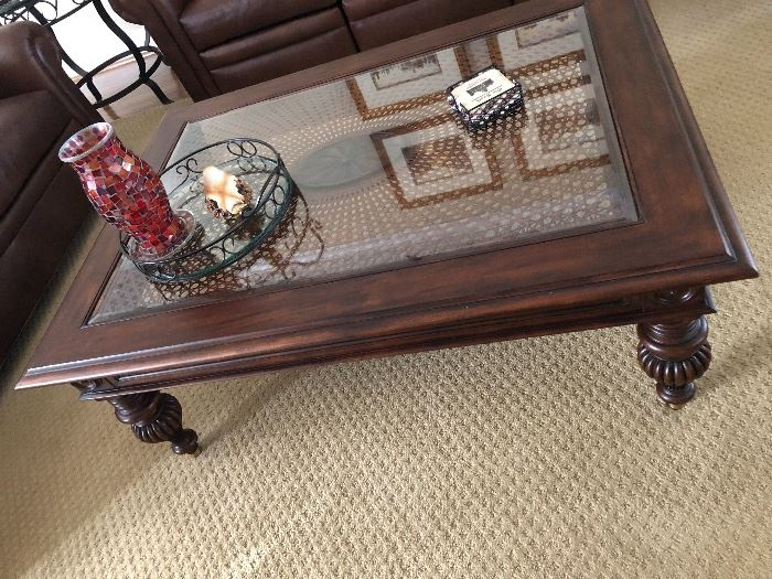 Solid wood coffee table with glass top $130