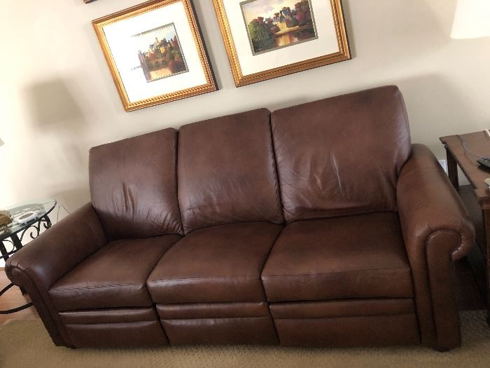 One of two available Ethan Allen leather sofas with recliners $1400 each… Practically new from a smoke free pet free home