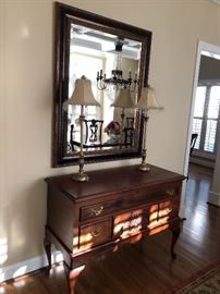 Solid wood blanket just $210 a pair of buffet lamps $60 wall mirror $60
