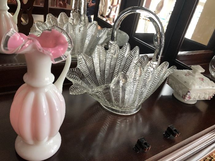 Glass basket $40 white and pink sandwich glass vase $12 milk glass dish with lid eight dollars